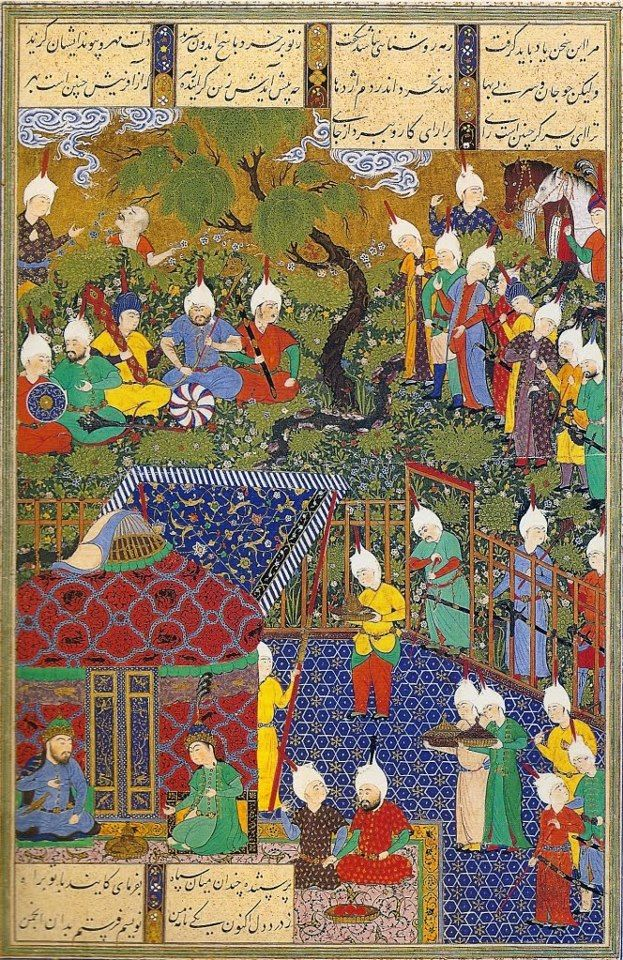 a miniature painting showing precisely the sort of royal encampment . The painting is part of Shah Tahmasp's Shahnameh, the book he commissioned to illustrate the poet Firdawsi's epic saga of Persia's kings. It was painted circa 1525.