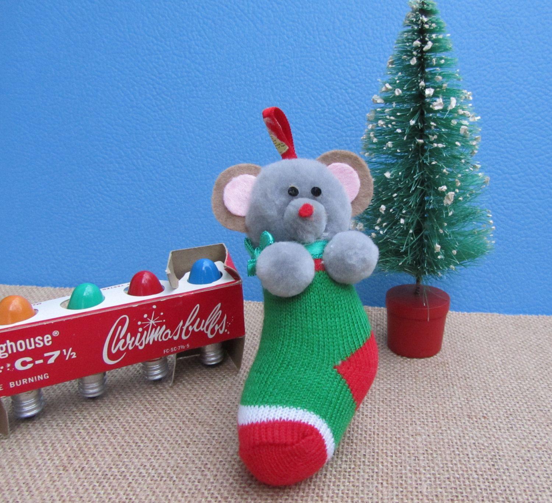 Mouse Stocking Christmas Ornament Plush Gray Pom Pom Mouse Animal ...