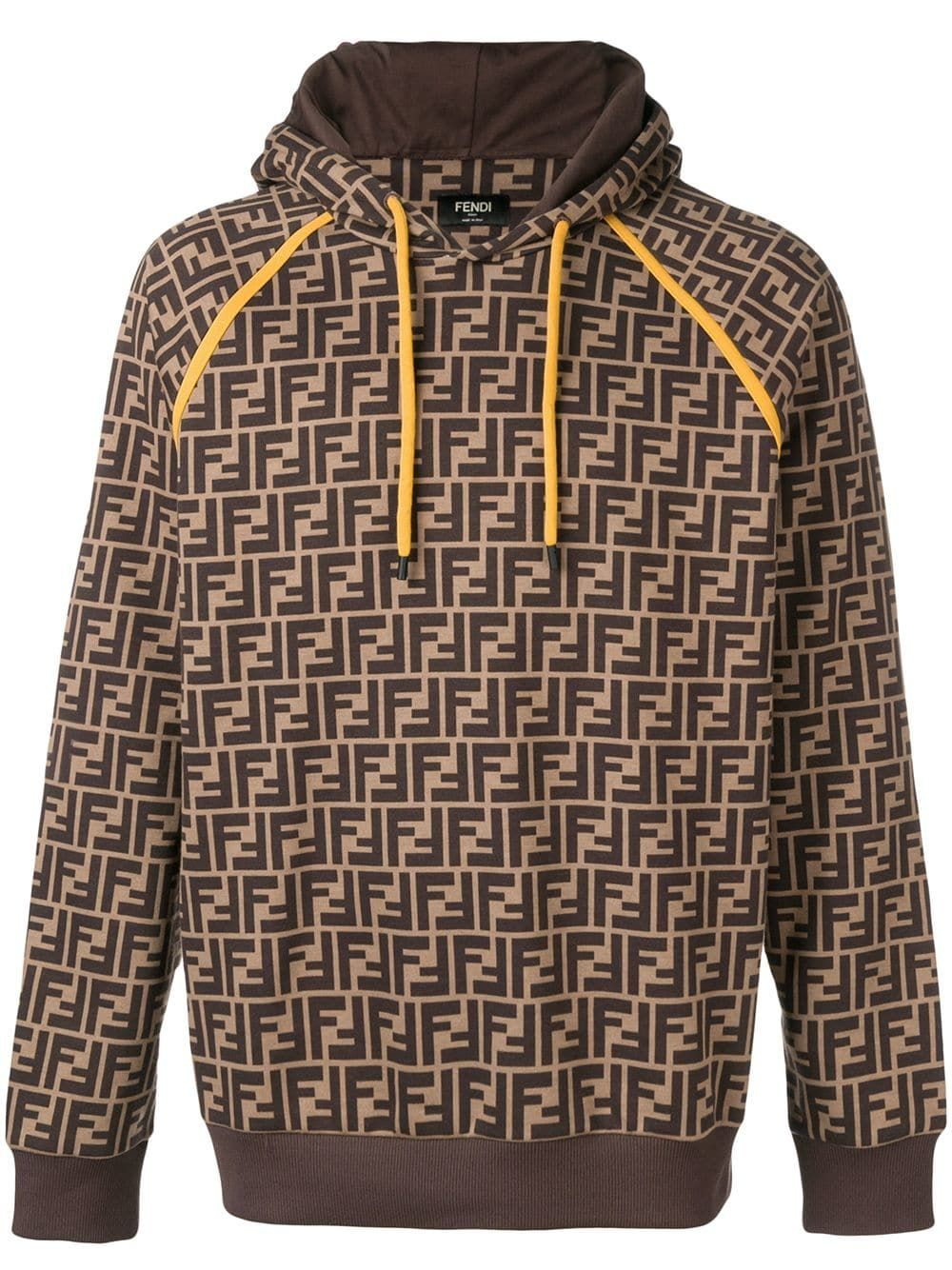 3490240758be FENDI FENDI PRINTED FF LOGO HOODIE - BROWN.  fendi  cloth