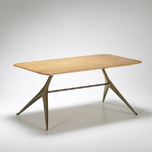 Carl Aubock, Brass and Figured Maple Table, c1950.