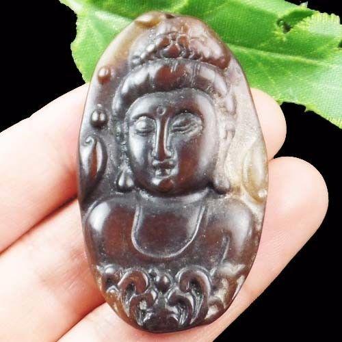 1pcs beautiful carved chinese old jade kwan yin pendant bead 1pcs beautiful carved chinese old jade kwan yin aloadofball Images