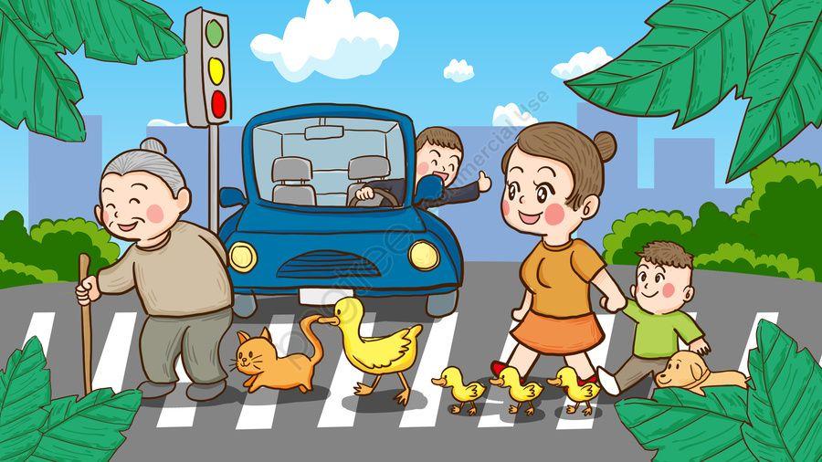 Hari Keselamatan Lalu Lintas Kebangsaan Orang Ramai Menyeberang Jalan Raya Ilustrasi Tangan Hari Keselamatan Lalu Lintas Kebangsaan Trafik Hari Keselamatan G Mỹ Thuật Giao Thong Phac Thảo
