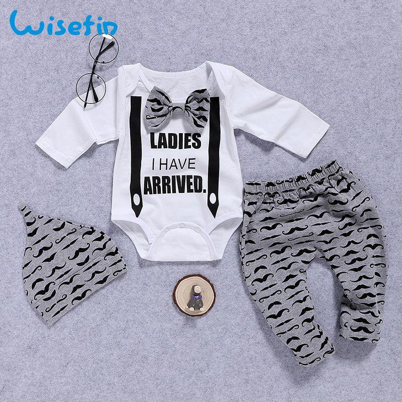 Wisefin Newborn Clothing Set Baby Boys Set 3pcs Bow Tie Infant Clothes 0 18 Months Moustache Print Cute L Kinderkledij Jongens Jongensoutfits Baby Jongen Stijl