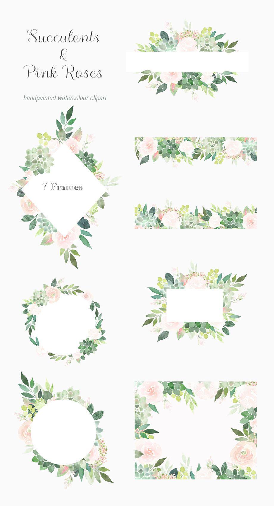 Photo of Sukkulenten-Clipart-Bilder, saftig Grenze, Rosen-Rahmen, Blumen Aquarell Hochzeitseinladung, vorgefertigte, Boho Blumen Grafiken, grün, rosa