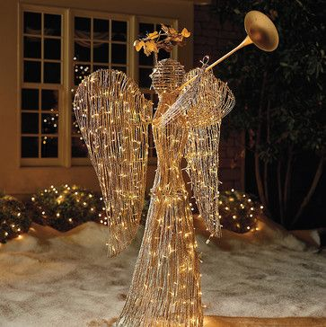 Lighted Rattan Trumpet Angel Outdoor Christmas Decorations Traditional Holiday