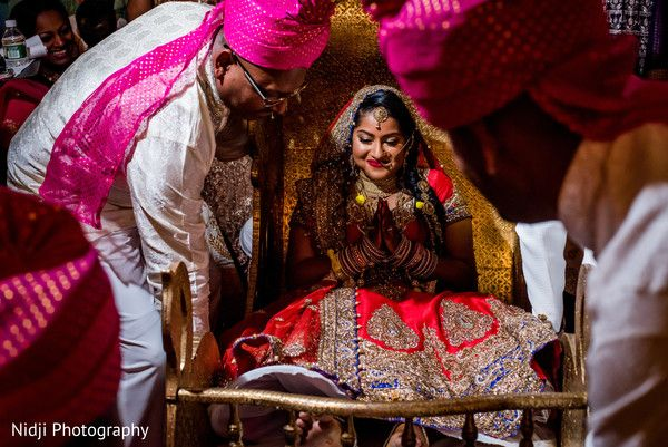 Indian bride making her entrance at wedding ceremony