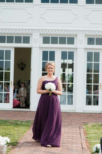 Maid of honor...eggplant purple Mori Lee bridesmaid dress, white hydrangea bouquet