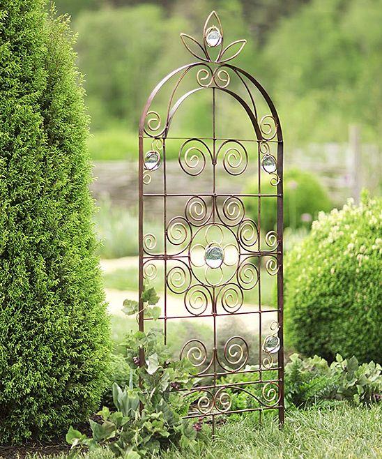 Metal Swirl & Glass Ball Garden Trellis