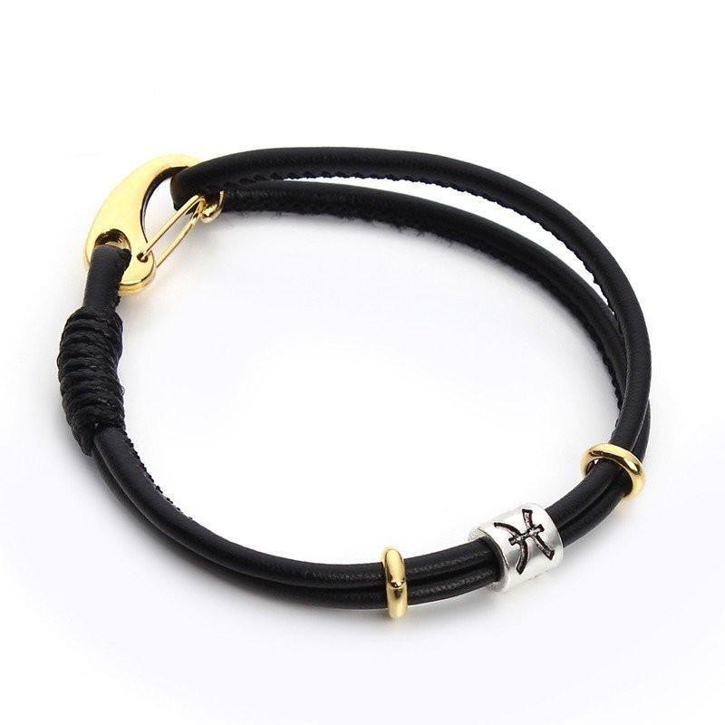 Black Leather Silver Zodiac Signs Charm Bracelet [12 Variants]
