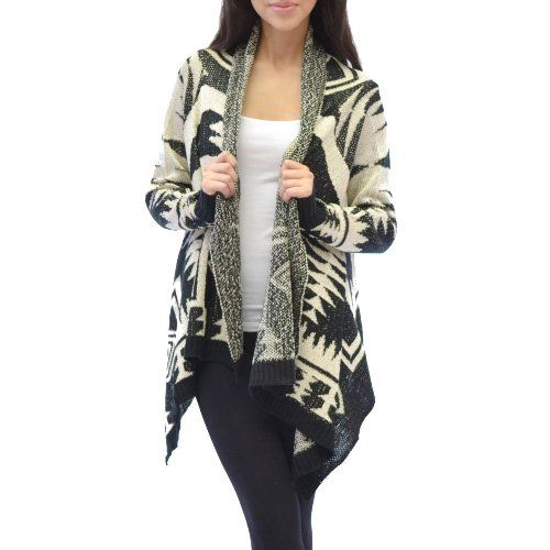 Azkara Womens Aztec Tribal Long Sleeve Open Front Knit Waterfall ...