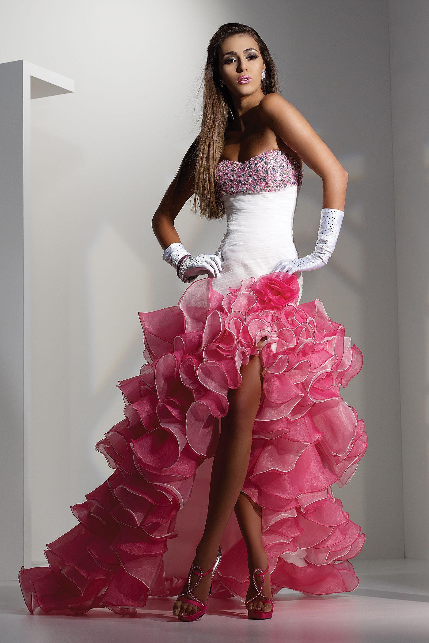 Glamorous Pink And White Wedding Dress