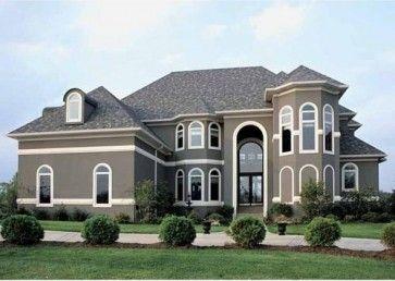 dark gray house with white trim stucco trim design ideas pictures remodel - Stucco Design Ideas