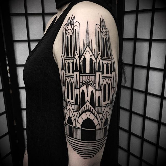 🌑⚔️ Cathedral ⚔️🌑 For bookings: nicola.mantineo@gmail.com or mail.occulttattoo@gmail.com #cathedral #cathedraltattoo