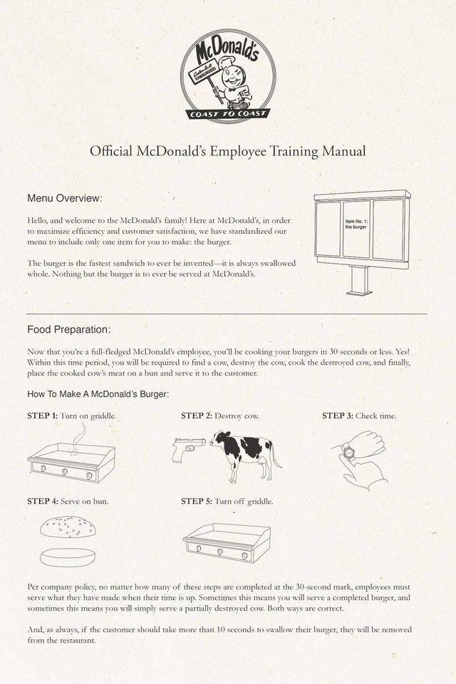 the original mcdonald s employee training manual is a must read rh pinterest com mcdonald's training manual Tye McDonald Training