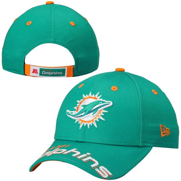 Miami Dolphins New Era Word Pin Classic 9FORTY Adjustable Hat - Aqua - $22.99