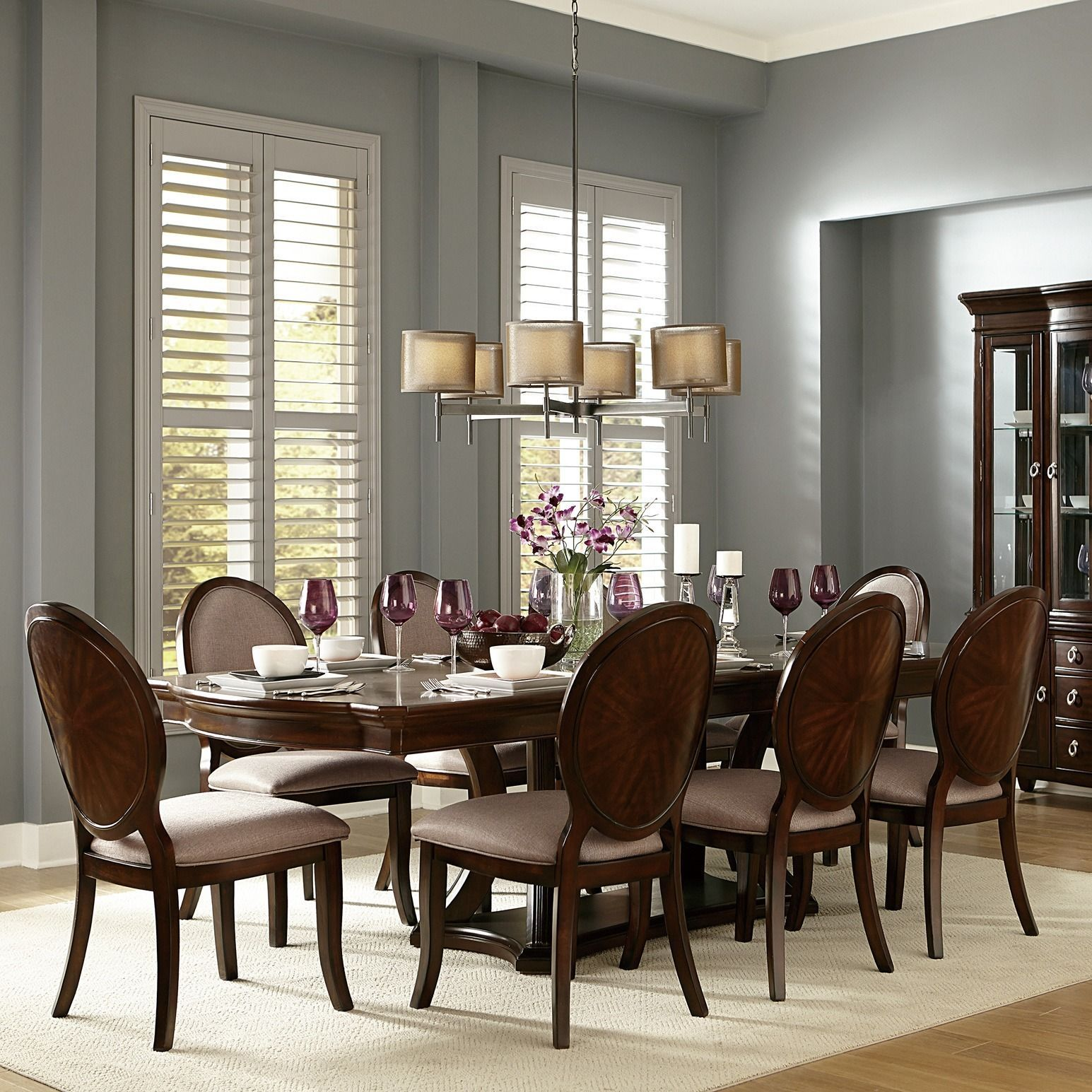 Verdiana Rich Brown Cherry Finish Extending Dining Set by ...