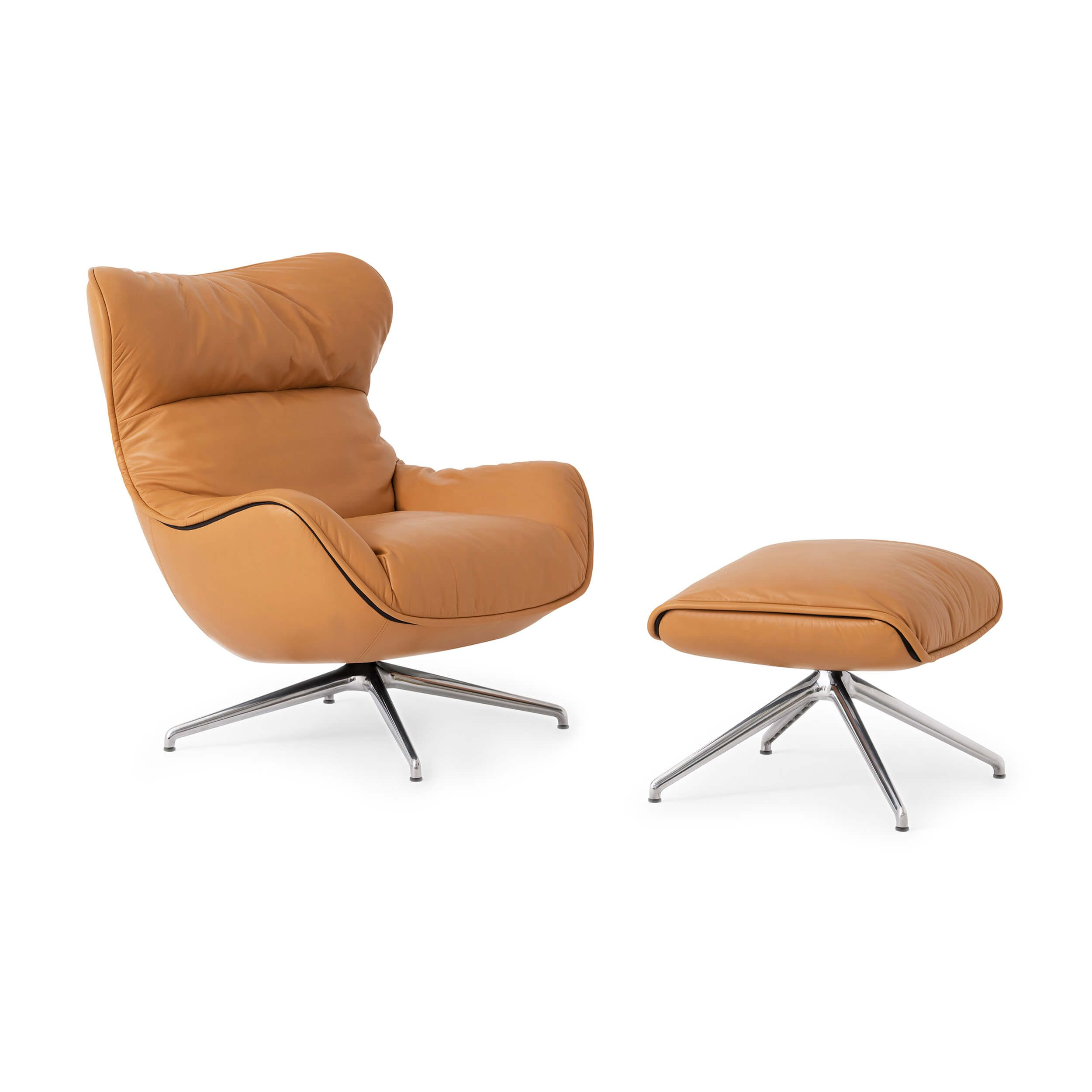 An Inviting Chair And Ottoman Combo You Won T Be Able To Resist The Canadian Made Mid Century Lounge Chairs Modern Furniture Living Room Leather Lounge Chair