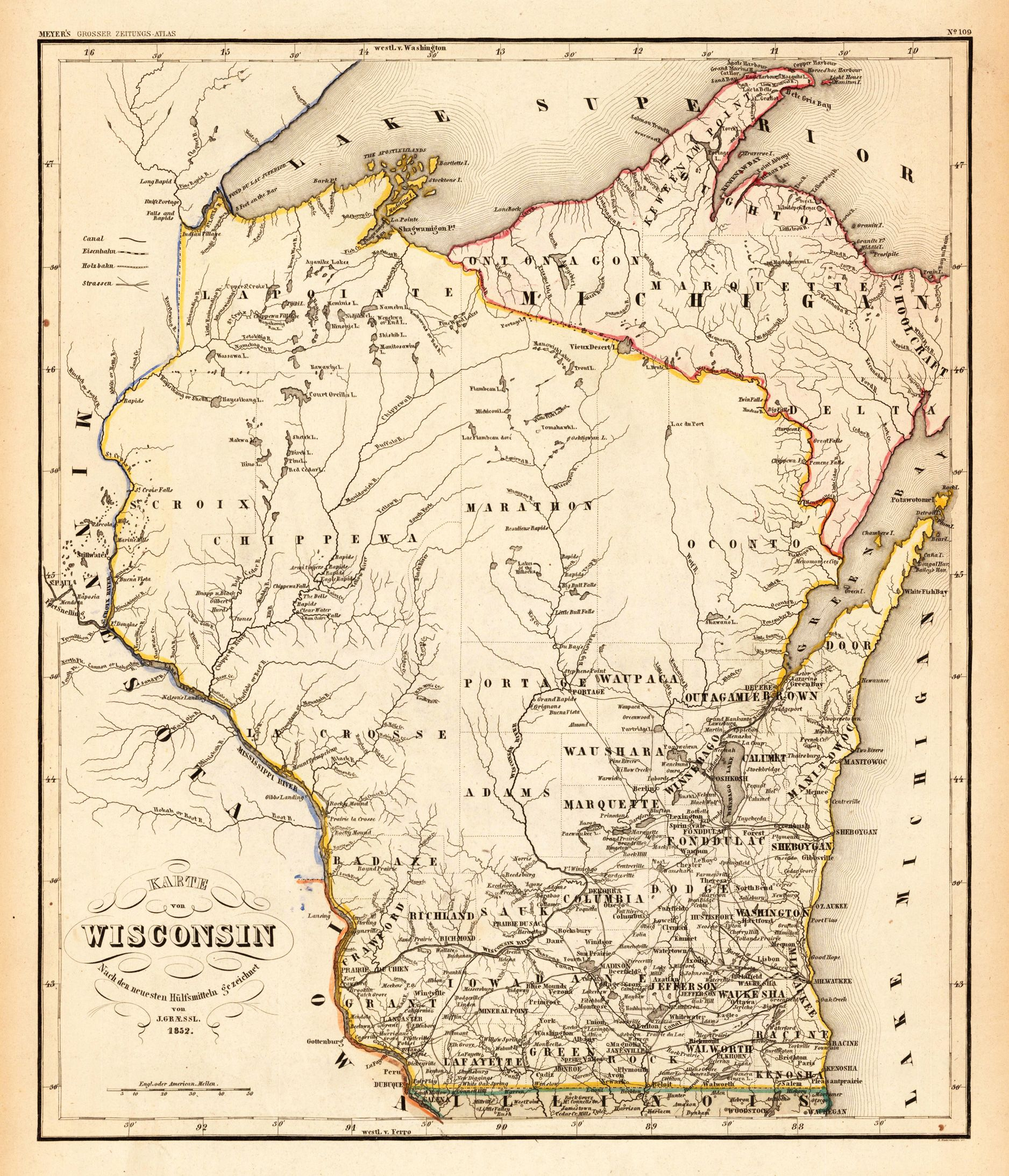 Old Wisconsin Map Wisconsin Maps Antique And Vintage - Maps of wisconsin