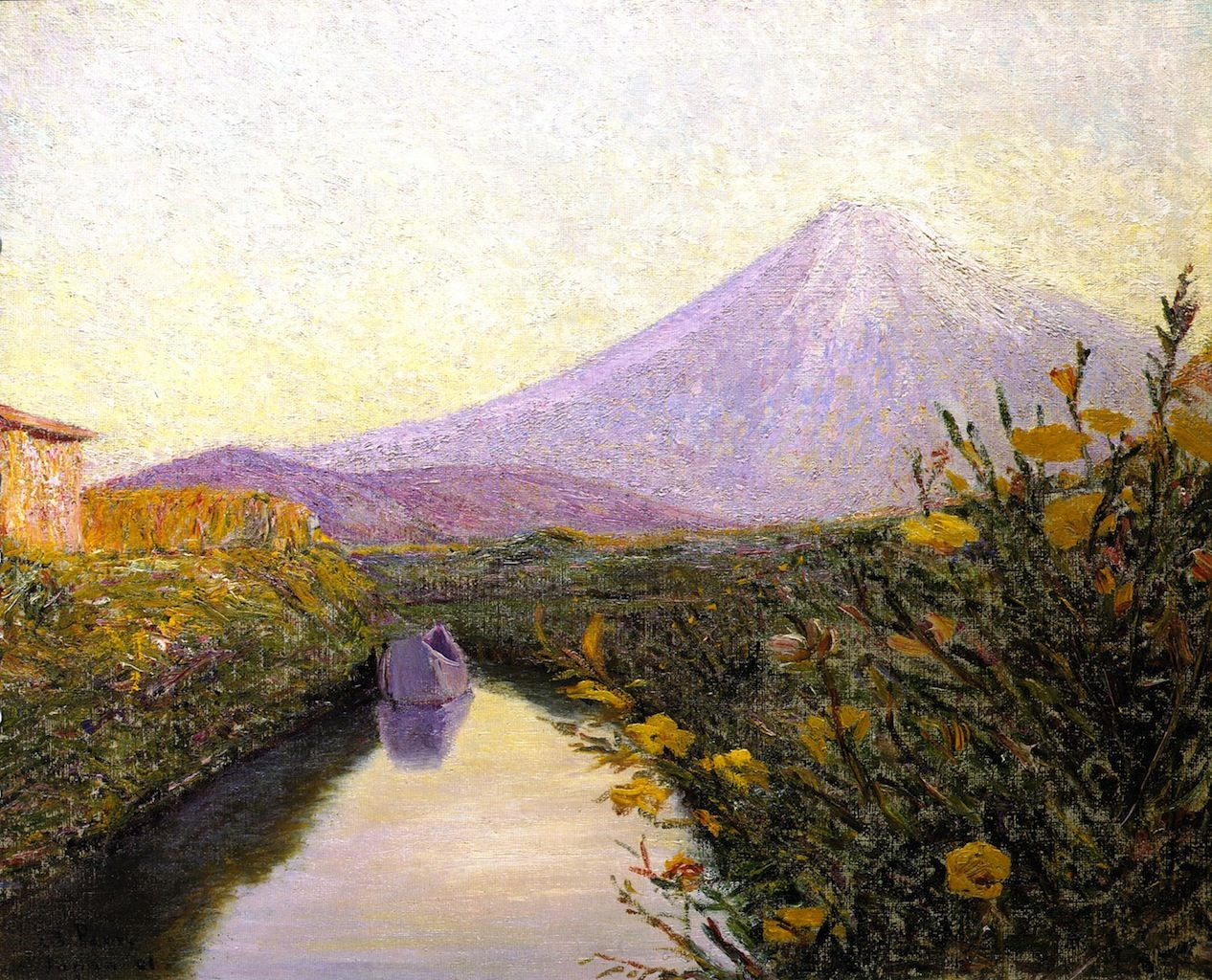 Lilla Cabot Perry (1848-1933, USA) - Fuji from the Canal, Iwabuchi- 1898 -1901- Private Collection