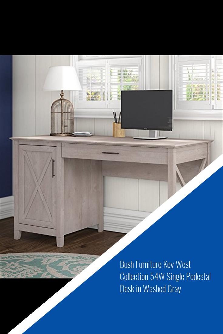 Bush Furniture Key West Collection 54w Single Pedestal Desk In Washed Gray Bush Furniture Pedestal Desk Furniture