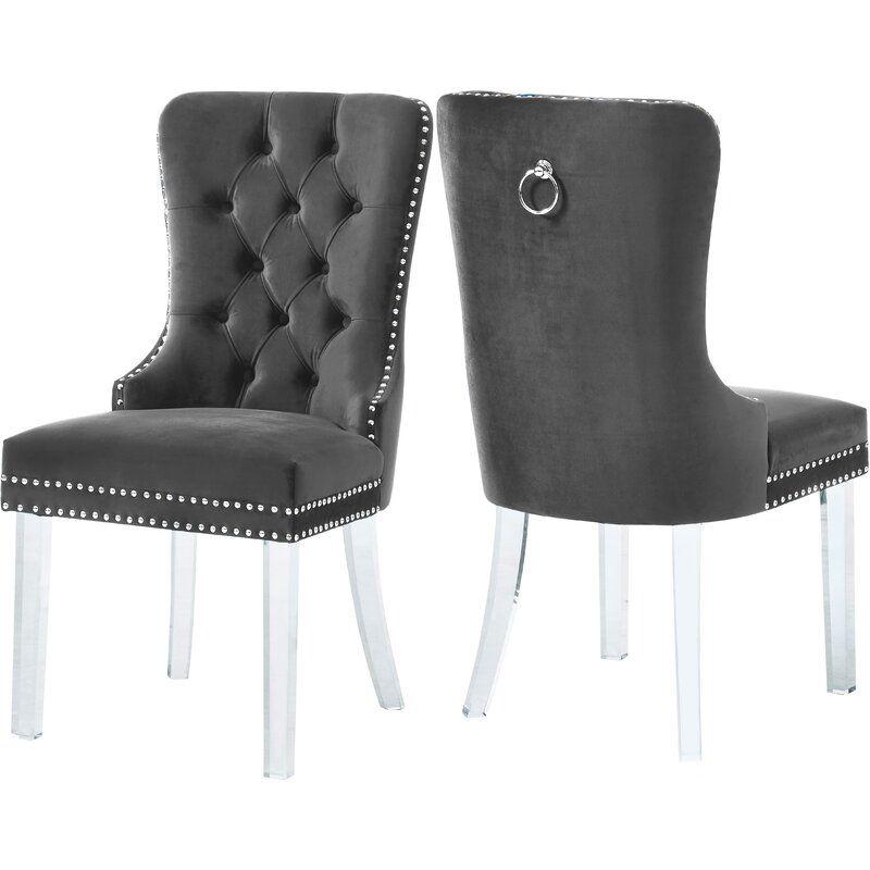 Clovis Tufted Velvet Upholstered Dining Chair Tufted Dining Chairs Dining Chairs Gray Dining Chairs