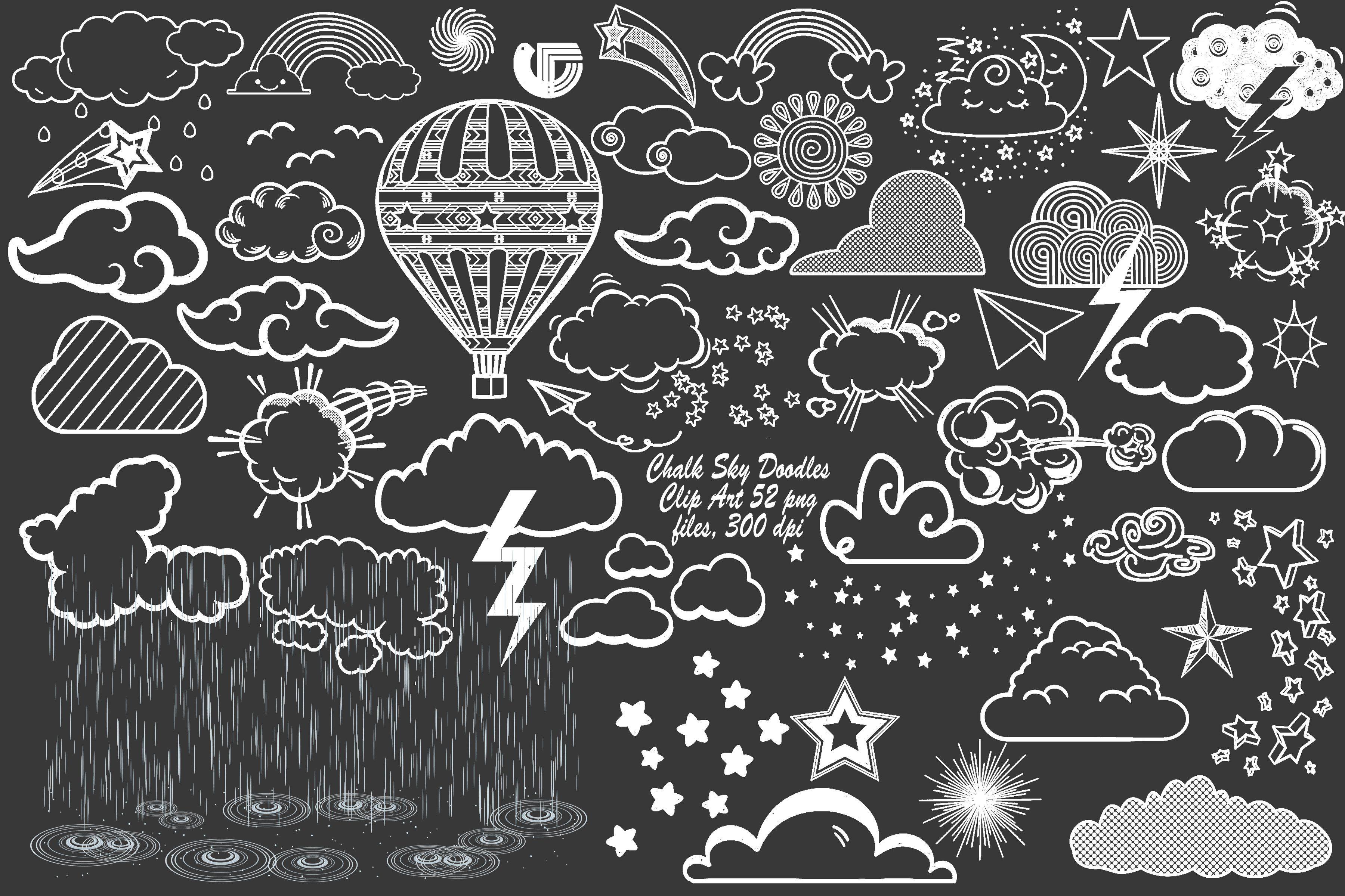 Chalk Sky Doodles W Rain Overlay Doodles Clip Art Graphic Design Background Templates
