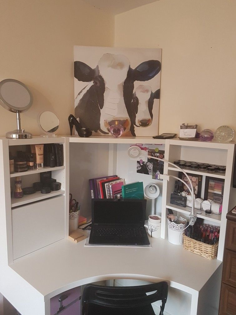Makeup Station Work Space Is Ready I Love It The Ikea Micke