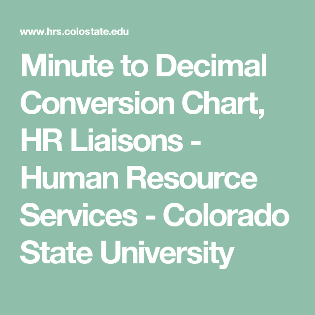 Minute To Decimal Conversion Chart Hr Liaisons Human Resource