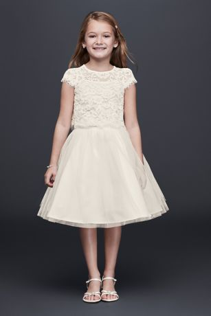 af01ffceafc The two-piece trend is the perfect choice for the modern flower girl who  dares to be different. This set features an eyelash-trimmed lace crop top  and full ...