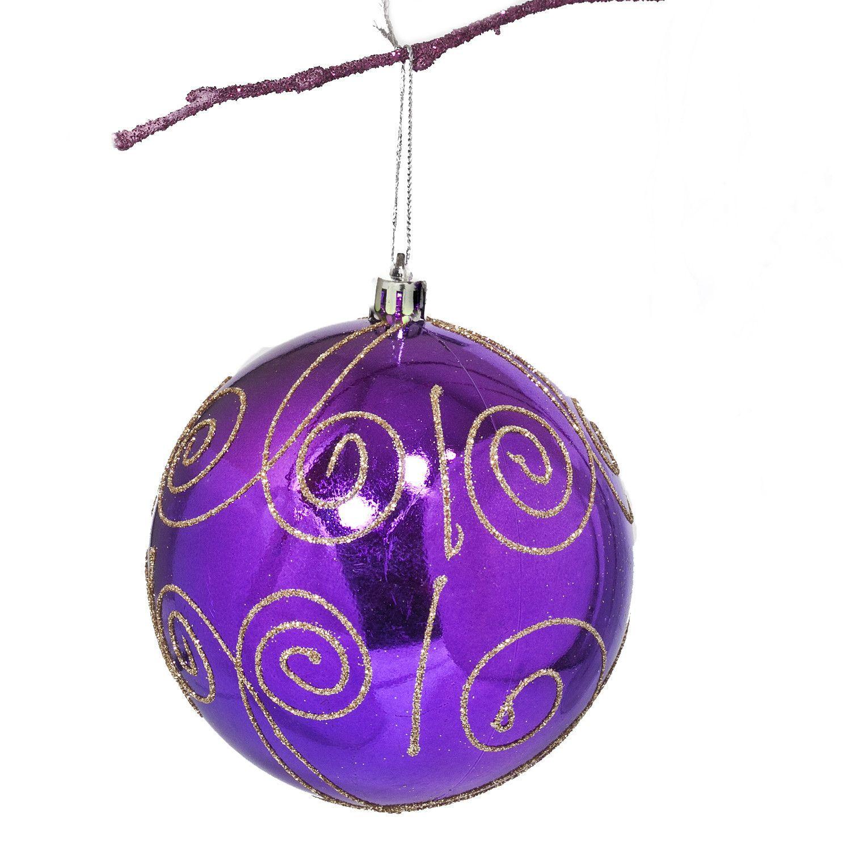 "Ball Balls Decorations 39"" Shatterproof Handpainted Scroll Christmas Ball Ornament"