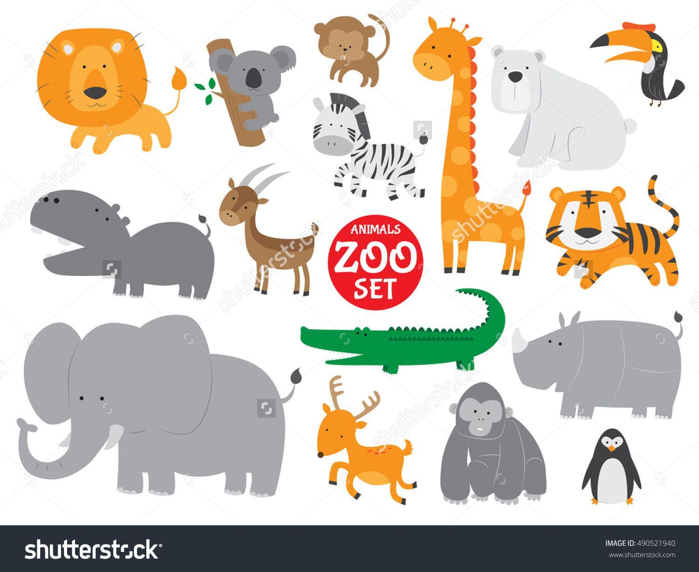 Cute Zoo Animals Vector Set Cute animal illustration