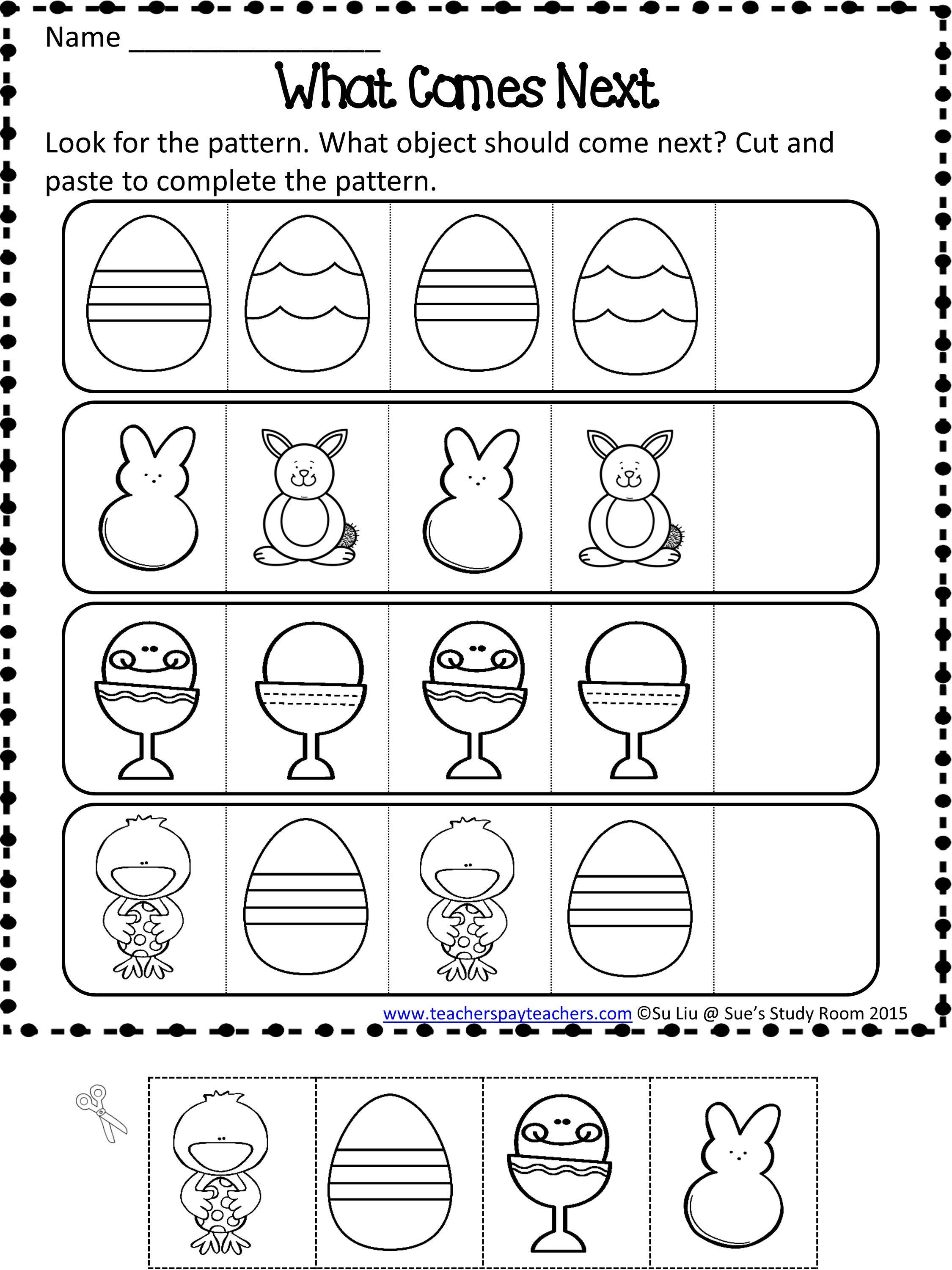 Easter Patterns Worksheets Easter, Patterns and Math