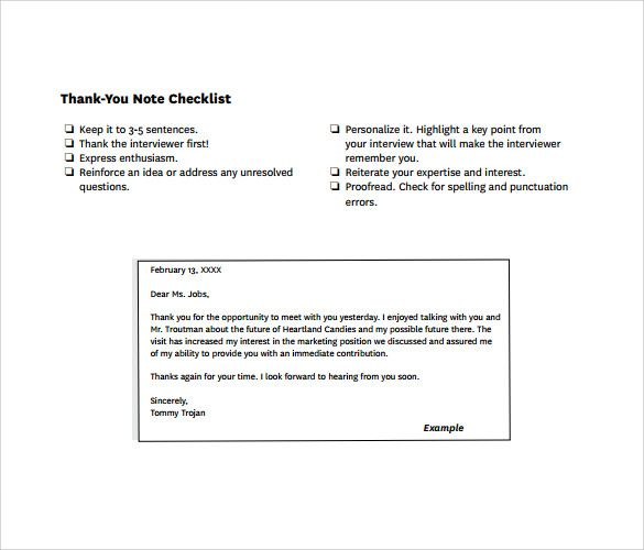 Sample Thank You Note After Phone Interview Free Documents Pdf