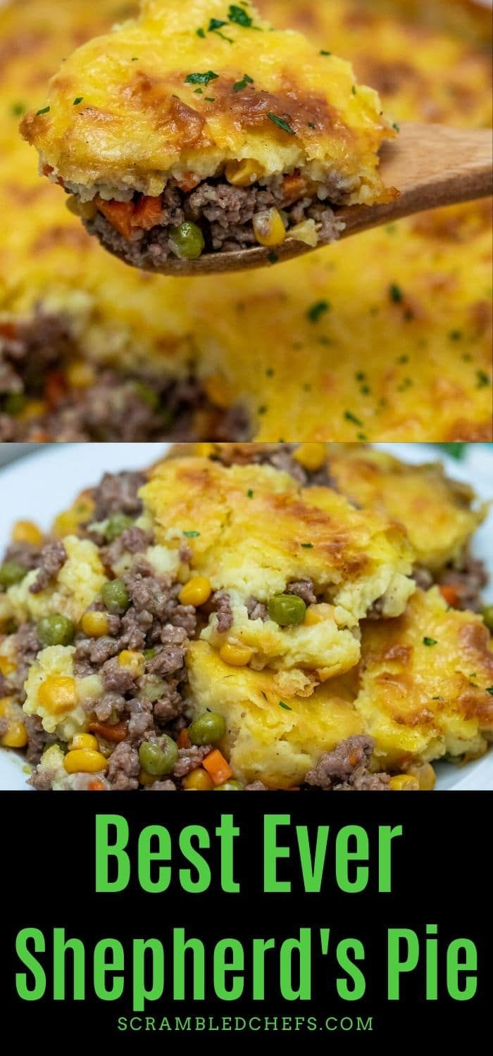 Don't miss this recipe for the best authentic shepherd's pie recipe! A meat mixture topped with light mashed potatoes is the easiest casserole ever! #ShepherdsPie #CottagePie #BeefRecipe #DinnerTime #BeefCasserole #LambRecipe #LambCasserole #WeeknightDinner #ComfortFood