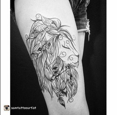 Loujah Wonderful Tattoo Of My Work Poetic Lion Tattoos Tatouage