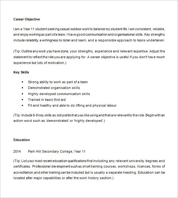 10+ High School Resume Templates u2013 Free Samples, Examples - resumes for highschool students