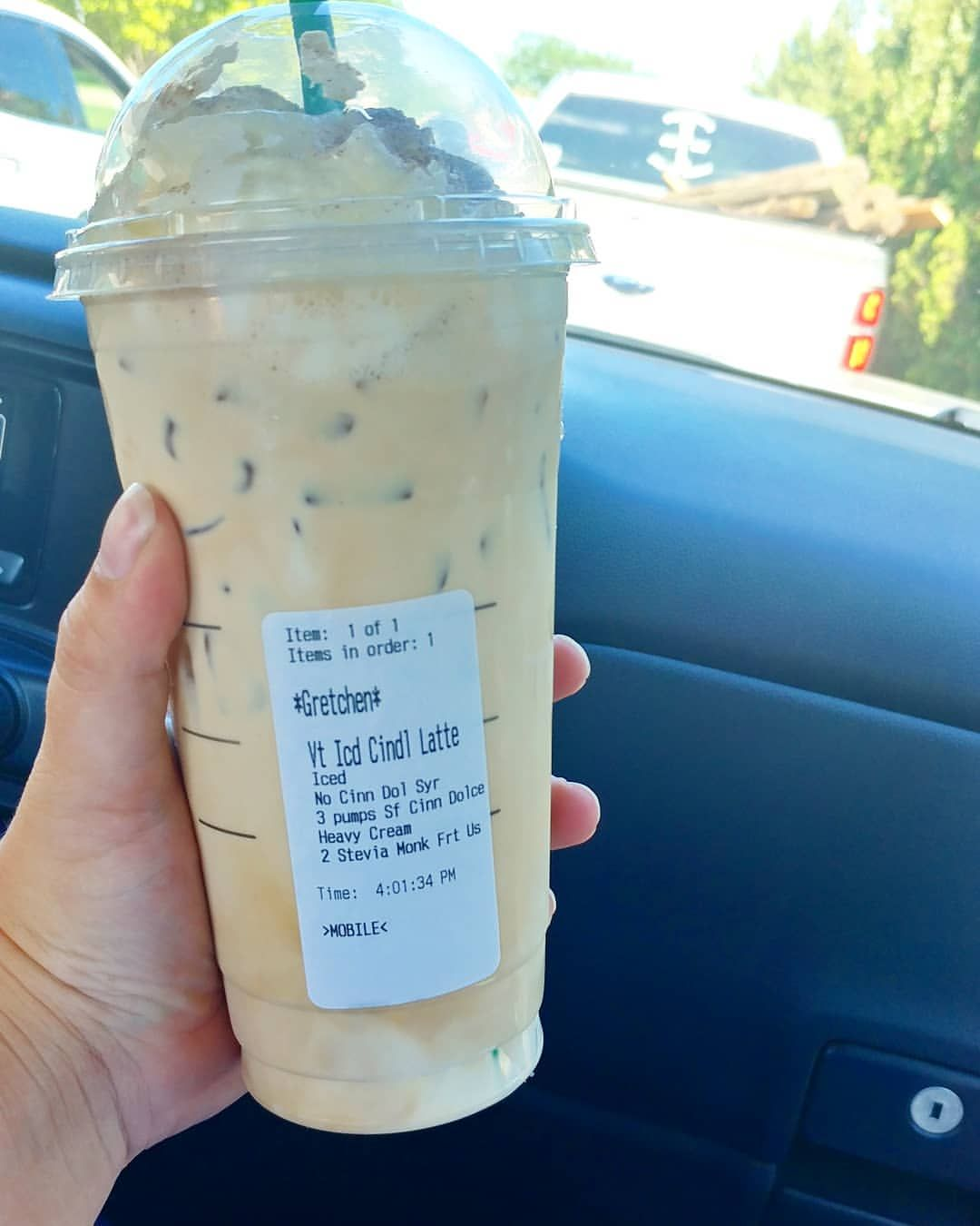"gretchen - � keto recipes � on Instagram: ""This is what I order when I have LOTS of calories.... Venti cinnamon dolce latte, no cinnamon dolce syrup, 3 pumps sugar free cinnamon…"""