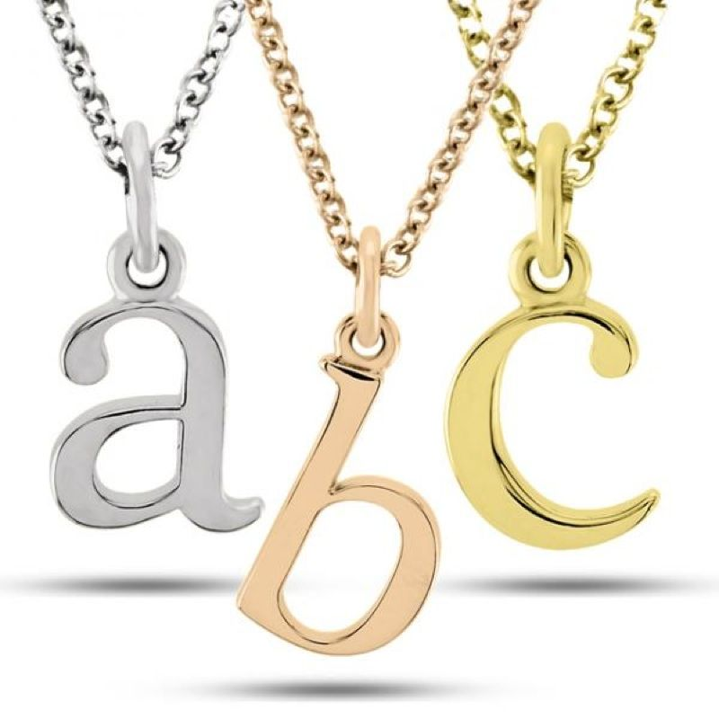 Lower case block letter single initial pendant necklace solid 14k lower case block letter single initial pendant necklace solid 14k rose yellow or white mozeypictures Image collections