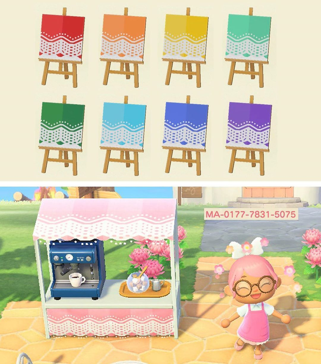 Animal Crossing New Horizons On Instagram Cute Lace Stall Designs Credit To Moriastra On Reddit Crea Animal Crossing New Animal Crossing Animal Crossing Qr