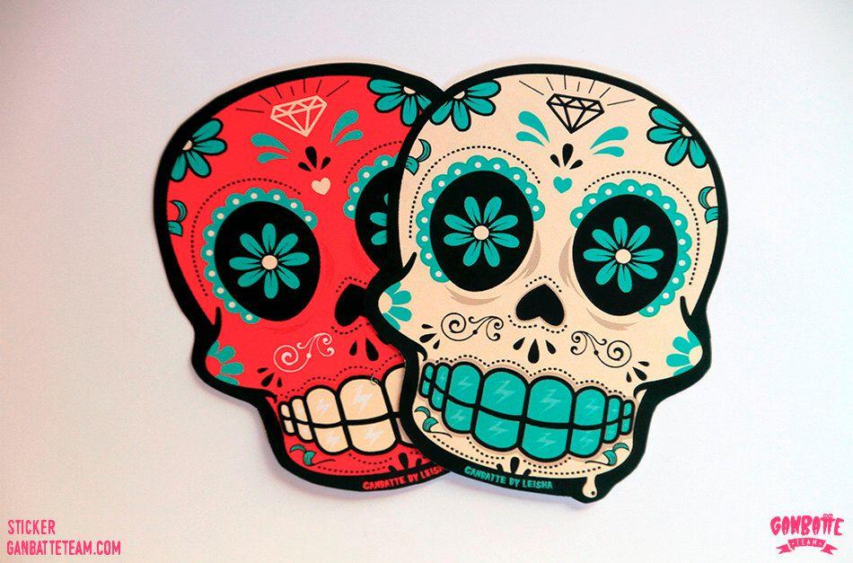 Set 2 stickers sugar skull calacas calaveras x 2 big sticker dia de los muertos day of the dead by ganbatte team sugar skulls