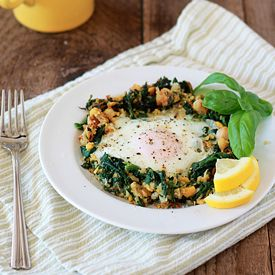 Lemony Egg in a Spinach-Chickpea Nest