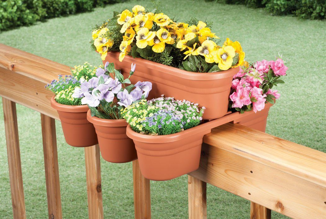 Best Amazon Com Rail Planter By Miles Kimball Patio Lawn 640 x 480