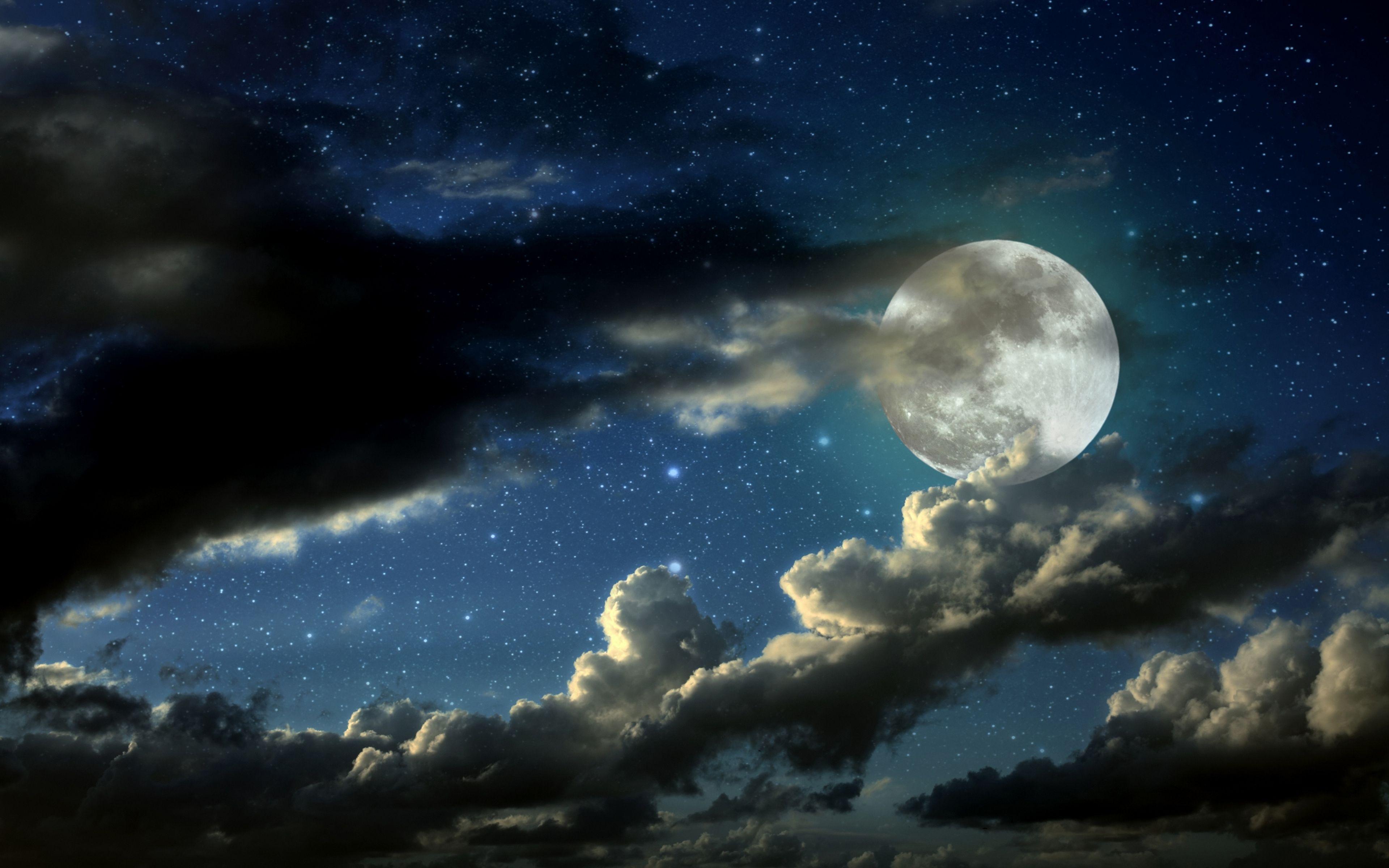 3840x2400 Wallpaper Full Moon Stars Clouds Shadows Night Sky Wallpaper Full Moon Night Stars And Moon