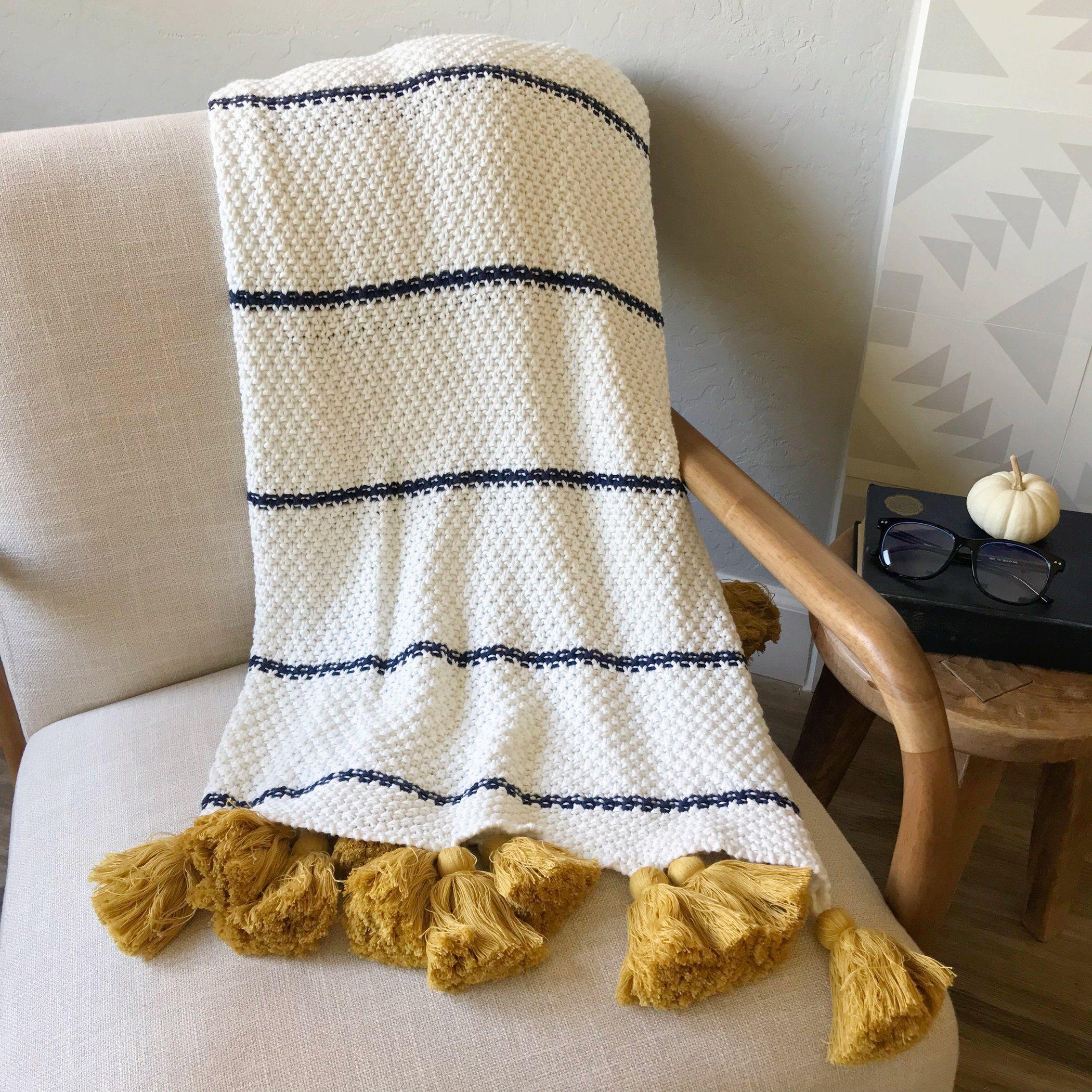 Jana Navy Ivory Throw Blanket W Gold Tassels Ivory Throw Blanket Throw Blanket White Throw Blanket