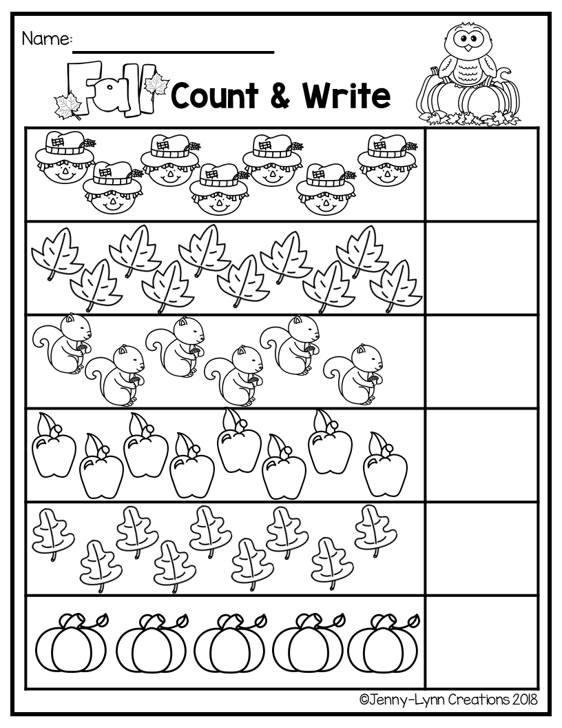 This Fun Fall Themed Math Packet Is Perfect For Teaching Counting And Cardinality The Kindergarten Math Worksheets Kindergarten Math Preschool Math Worksheets [ 1056 x 816 Pixel ]