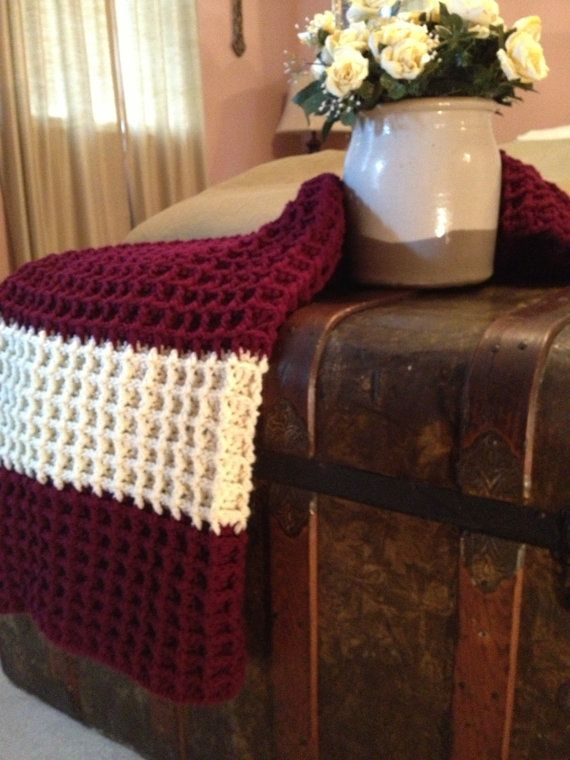 Waffle Stitch Afghan Burgandy And Off White By