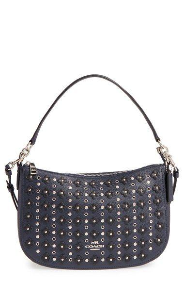coach chelsea studded floral embellished leather crossbody bag rh pinterest com mx