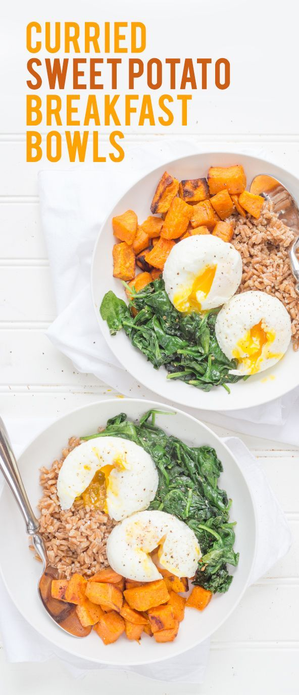 Curried Sweet Potato breakfast bowls. With farrow or quinoa, spinach and a poached egg.