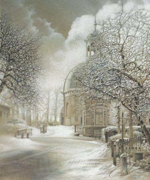 Paul Christiaan Bos Het Kerkje van Berlikum Houtskool, pastel, kleurpotlood en krijt op Ingres papier