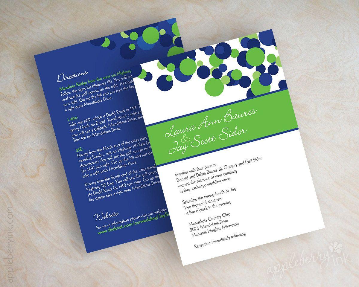 Wedding invitations polka dot invitations polka dot wedding wedding invitations polka dots in royal blue white and lime green 5900 stopboris Choice Image